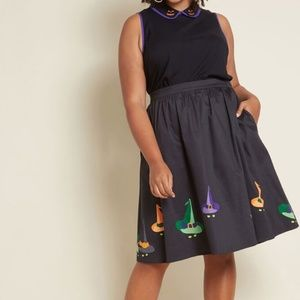 Modcloth Stylish Spirit Witch Cat Halloween Skirt